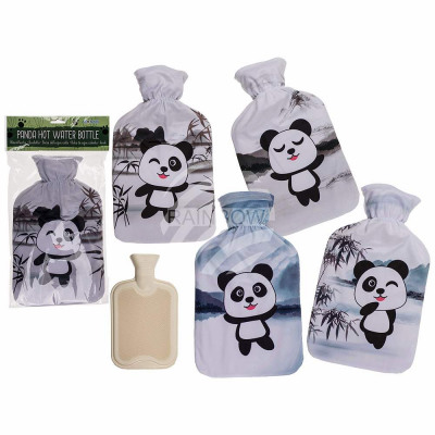 Cream hot water bottle, Panda, with 100% polyester