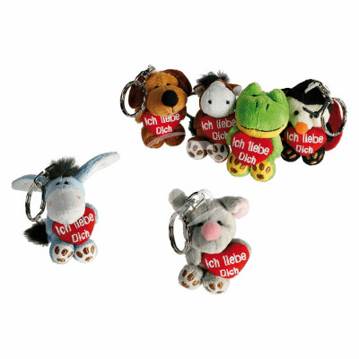 Metal key chain, plush toys with red Hey