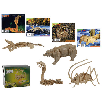Legno naturale puzzle 3D, fauna, circa 17 x 18 cm,
