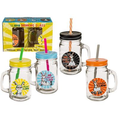 Drinking glass, llama, mason jar with handle, meta