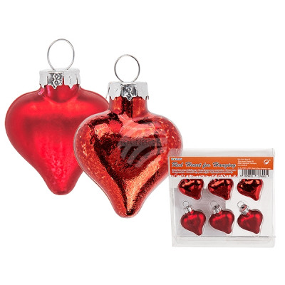 Christbaumschmuck, Red heart, matt & shiny