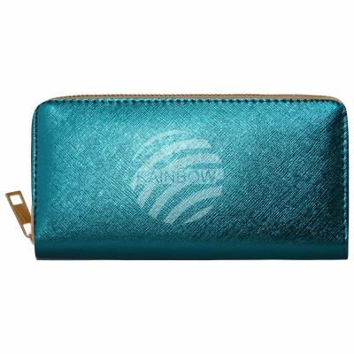 Purse wallet turquoise metallic design