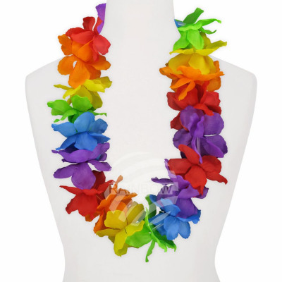 Maxi Hawaiian Flower Necklaces rainbow
