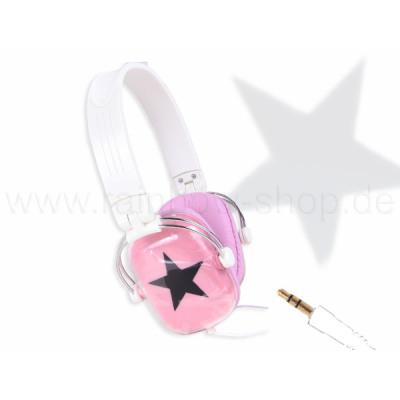 Headphones rectangular pink with black star