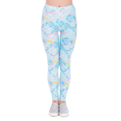 Women motive leggings unicorn blue pink white