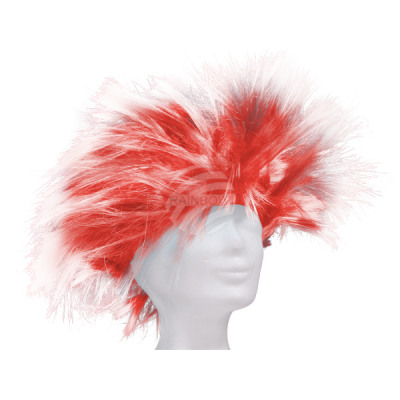 Short hair wig punk style red-white