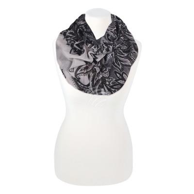 Madam scarf Floral black gray