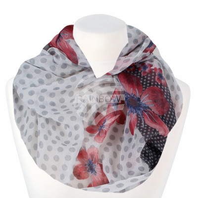 Ladies Loop Scarf Dots & Flowers white gray bl