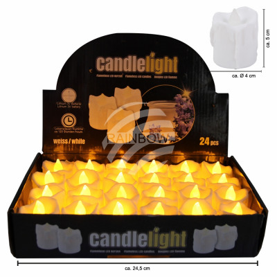 LED tealights candles round white