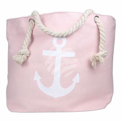 Shopper tote bag beach bag pink anchor