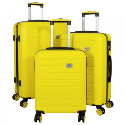 Zestaw walizek ABS 3-częściowy żółty wózek Bristol
