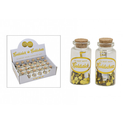 Wish glass Gold piece / Gold treasures made of gla