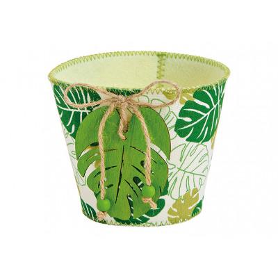 Basket trópusi dekorációval lap nemez textil (B /