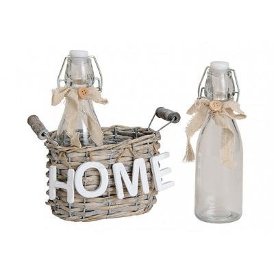 cesto di vimini con bottiglie di vetro 2 3 parti,