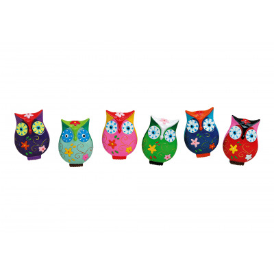 Magnet Owl, 6- times assorted , 24 pieces on black