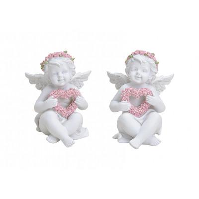 ANGEL WHITE ROSE POLY 2-UP assorti 8X9X11CM
