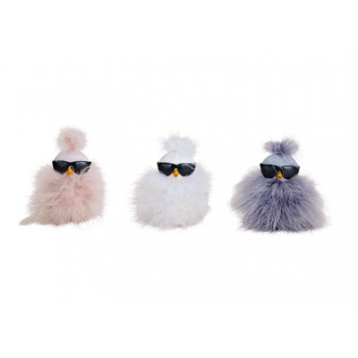 Pulcino con occhiali da sole, decoro di piume in p
