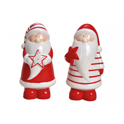 Babbo Natale in ceramica rosso, bianco 2- volte as