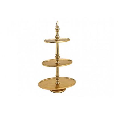 Supporto a 3 livelli in alluminio ovale oro (H) 7