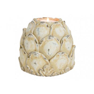 Waxinelichthouder Lotus gemaakt van kleiwit (W / H