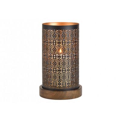 Lanterna su base di legno in metallo nero / marron