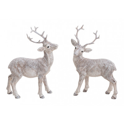 Deer with glitter made of poly white 2- times asso
