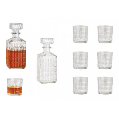 Set da whisky in vetro trasparente, set da 7, bott
