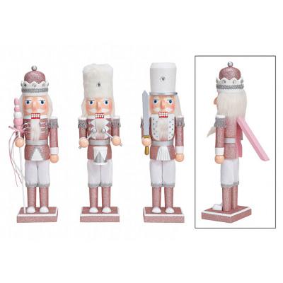Schiaccianoci con glitter in legno rosa / rosa tri