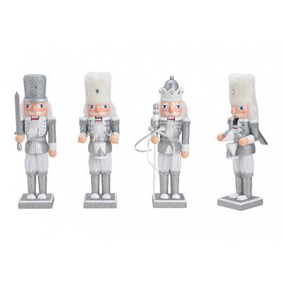 Schiaccianoci con glitter in legno argento 3 vie s