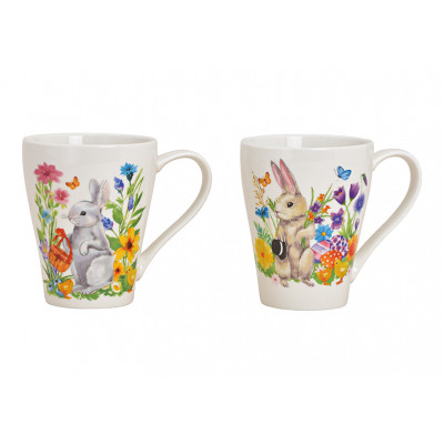 Mug decoro coniglietto in porcellana colorata sort