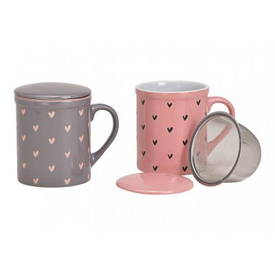Tazza da tè decoro cuore con colino in metallo in