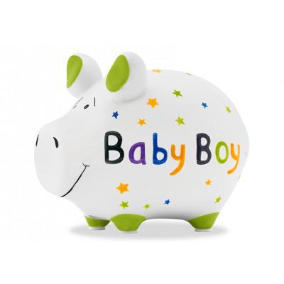 Pénzes doboz KCG kis disznó, kisfiú, kerámia,