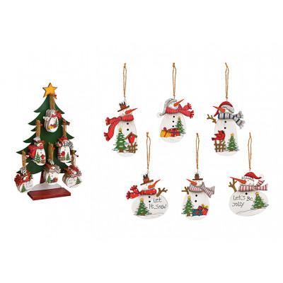 Appendino natalizio pupazzo di neve in legno bianc