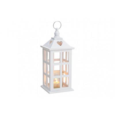 Lanterna, portacandela in legno, vetro bianco (L /