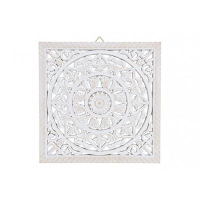 Decorazione a muro per fiori in legno bianco (L /