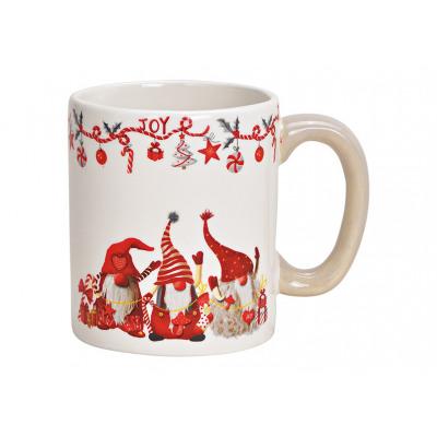 Kubek z dekoracją świątecznego elfa z ceramiki bia