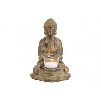 Buddha in argilla, con bicchiere di lanterna Antiq