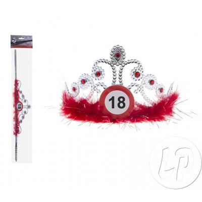 Strass Tiara corona e piume anniversario 18a