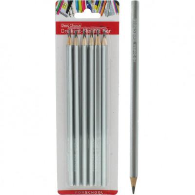 Triangular pencil, set of 6 on HB card, 17 cm