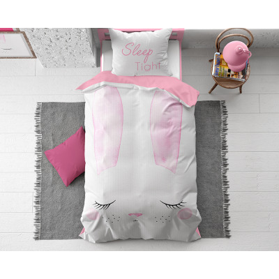 Cute Bunny Pink 140 x 200 Pink