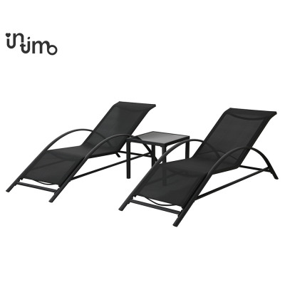 Sunbed set + Table 3 Piece Black 60 x 163 x 65 Z
