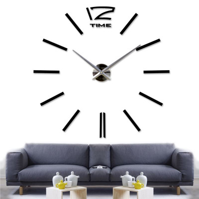 Walplus 3D DIY Vinyl Large Wall Clock - Black 130c