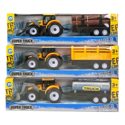 Tractor Yellow with trailer Pull Back 3 assorted 7