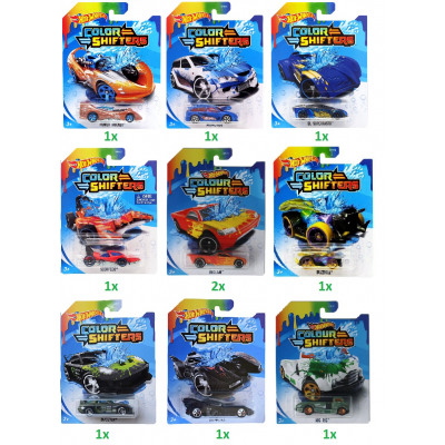 Hot Wheels Pojazdy Color Shifters 1,64 różne