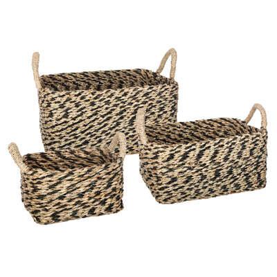Basket Seagr Plate Etnik Rectangle X3 Multicol