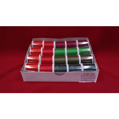 Cotton sewing thread 100m, assortment 6, red green