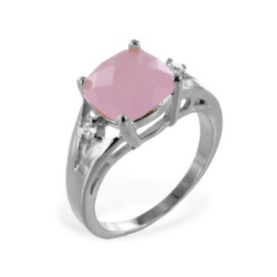 Ring Sterling Silver Cubic Zirconia 925 Milky Pink