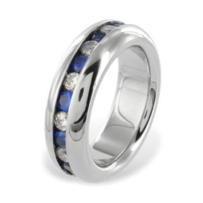 Bague acier zircon blanc / bleu