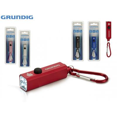 6 LED/'s en gris Grundig aluminio LED-linterna como llavero