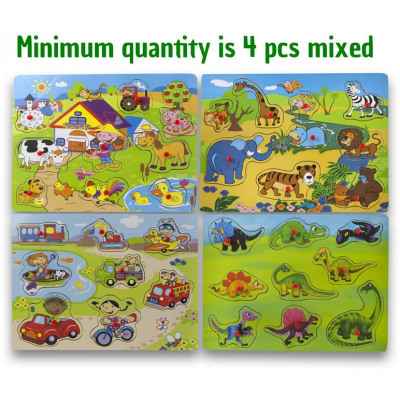 Wooden button jigsaw puzzle 4 assorted 21x29cm